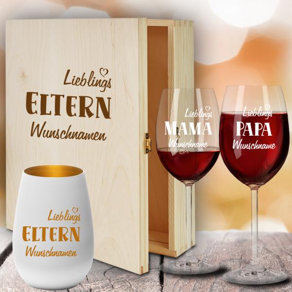 Geschenkbox Rotweingläser von Leonardo mit Windlicht für Deine Lieblings-Eltern