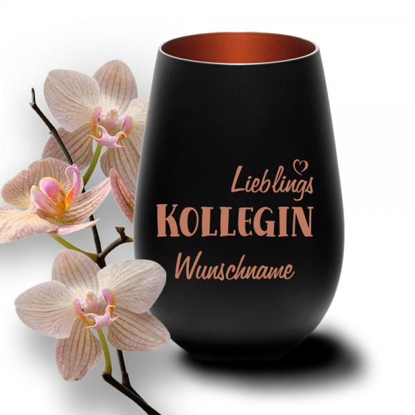 Windlicht Lieblings-Kollegin mit Wunschnamen schwarz-bronze