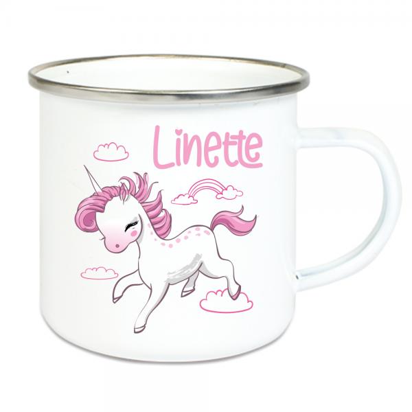 Emaille Tasse Kinder mit Deinem Namen - Einhorn + Wolken