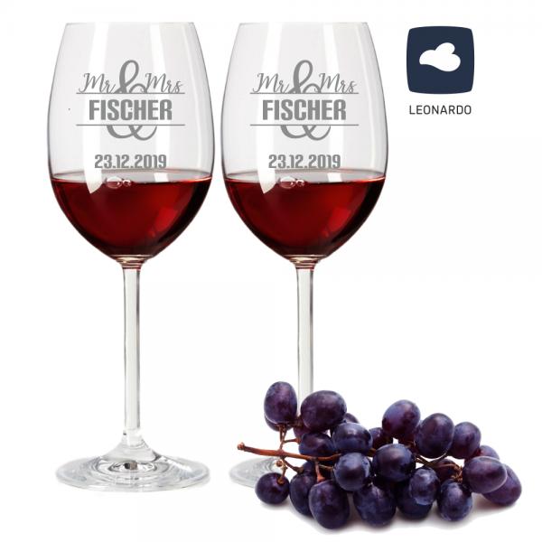 Rotweinglas-Set von Leonardo mit Gravur Motiv Mr. & Mrs mit Wunschnamen und Wunschdatum Hochzeit