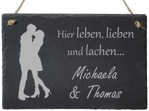 Haustürschild Schiefer mit Deinem Namen -Paar