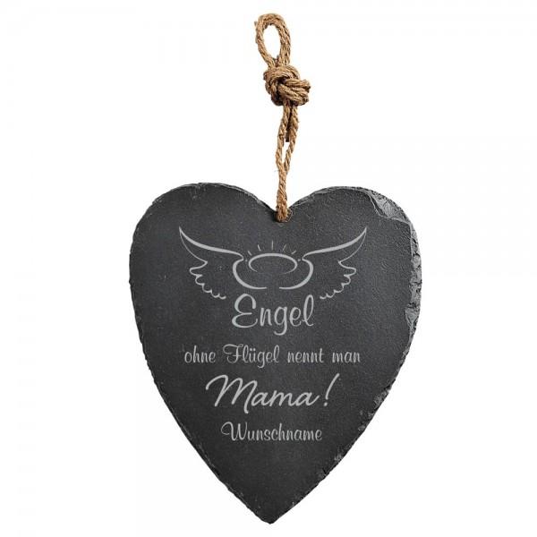 Schieferherz mit Wunschname Engel für Mama