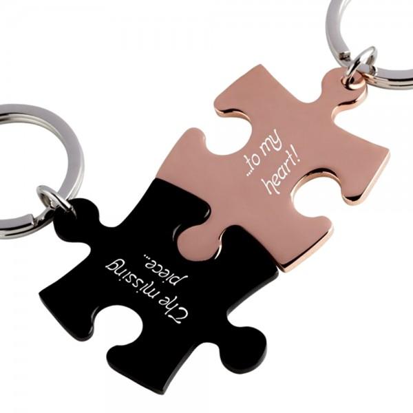 Trendgravur Partner-Schlüsselanhänger mit Gravur Puzzle schwarz rosegold