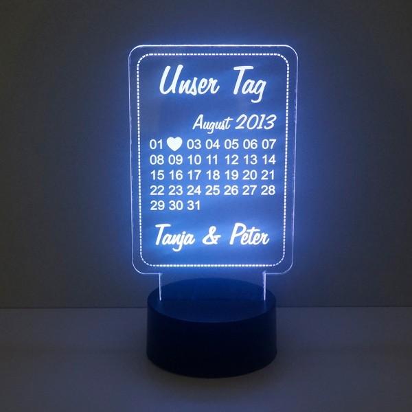 LED Kalender aus Acryl - Unser Tag