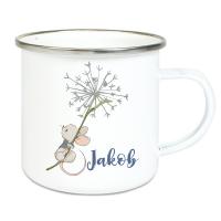 Emaille Tasse für Kinder mit Deinem Namen - Maus und Pusteblume