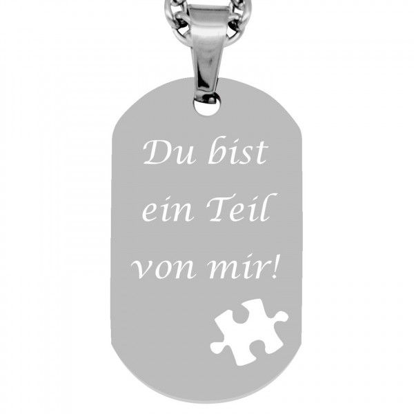 Kettenanhänger Dogtag - Puzzle mit Wunschgravur - silber