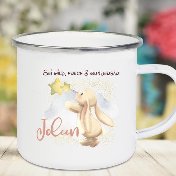 Emaille Tasse Kinder mit Deinem Namen -Hase greift nach den Sternen