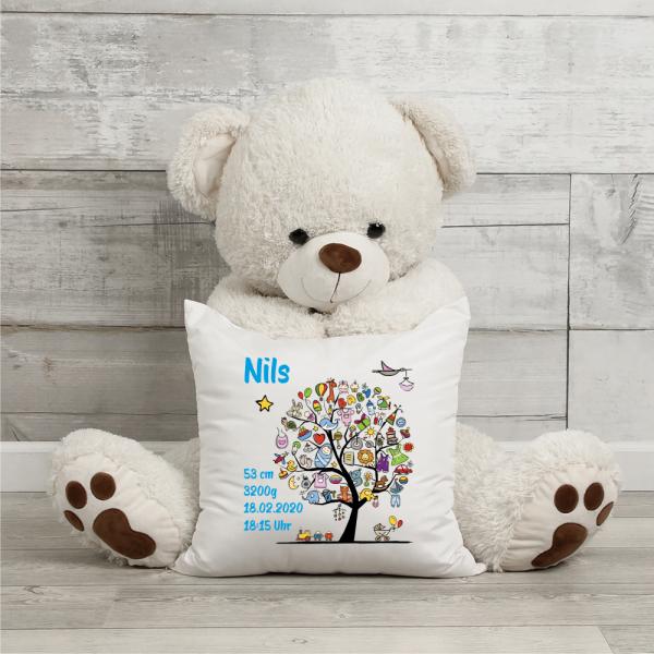 Kissen mit Namen zur Geburt Babybaum Junge
