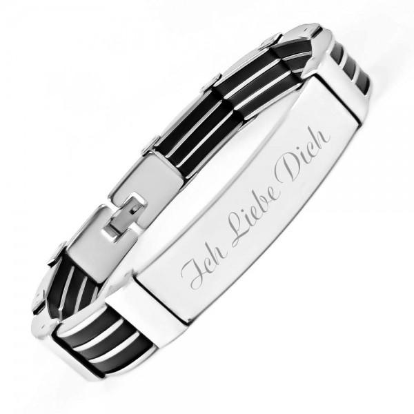 Trendgravur Armband Edelstahl mit Kautschuk No 6