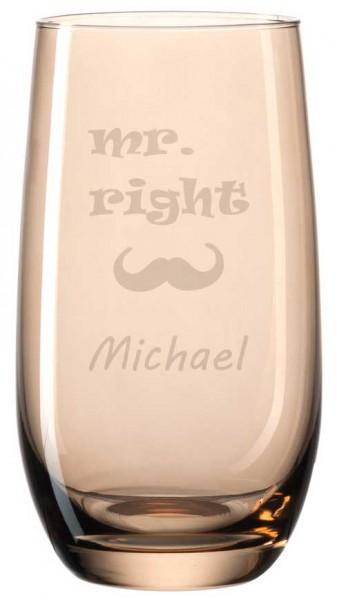 Buntes Trinkglas von Leonardo mit deiner Wunschgravur - Mr. Right