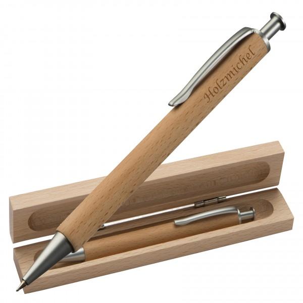 Holzkugelschreiber mit Etui eckig