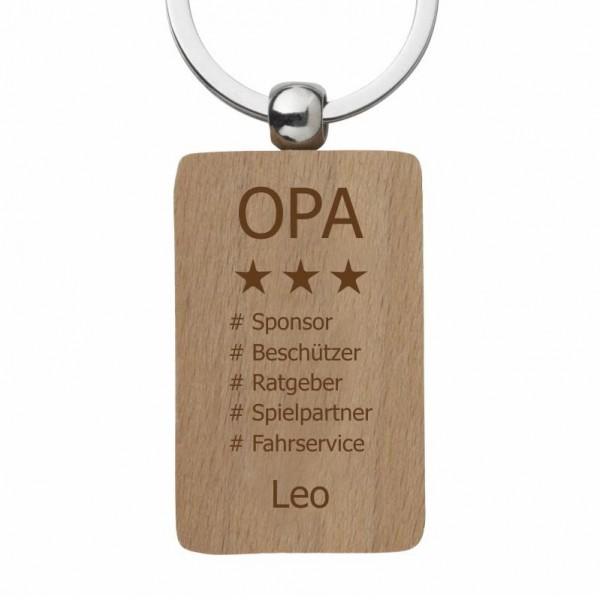 Holz-Schlüsselanhänger mit Gravur Hashtag-Opa