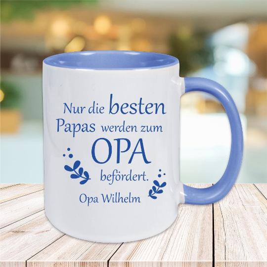 Tasse Nur die besten Papas werden zum Opa befördert mit Wunschgravur
