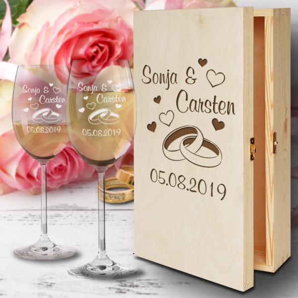 Weißweingläser zur Hochzeit in Holzbox Ringe mit Gravur