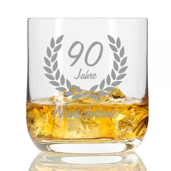 personalisiertes Whisky-Glas mit Namensgravur zum 90. Geburtstag