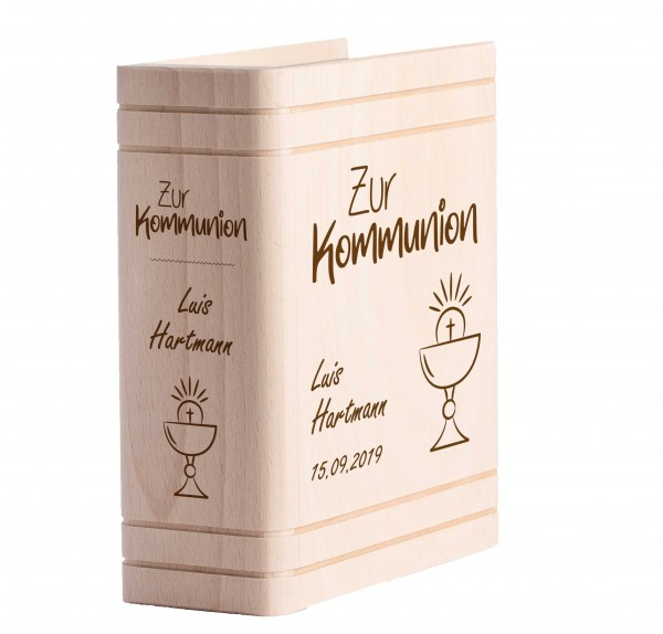 Personalisiertes Sparbuch mit Gravur zur Kommunion - Kelch