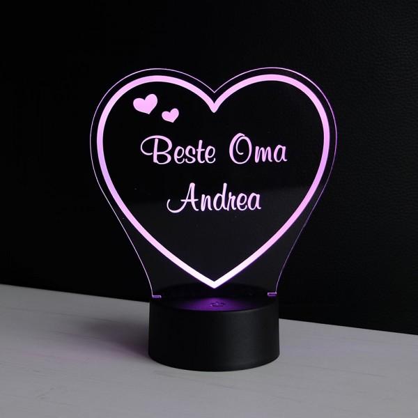 Herz LED-Dekolicht für Oma mit Wunschnamen