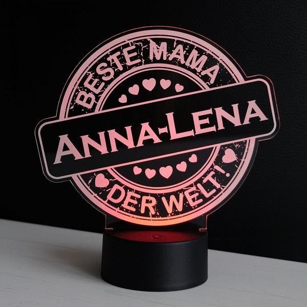 LED-Dekolicht Button Beste Mama mit Wunschnamen