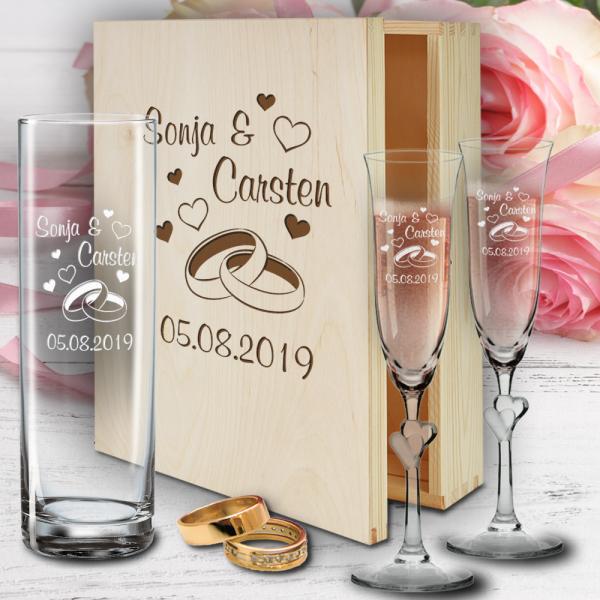 Geschenkbox zur Hochzeit mit Sektgläsern Herzen und Vase - Ringe
