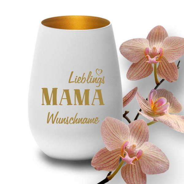 Windlicht Lieblings-Mama mit Deinem Wunschnamen weiß-gold