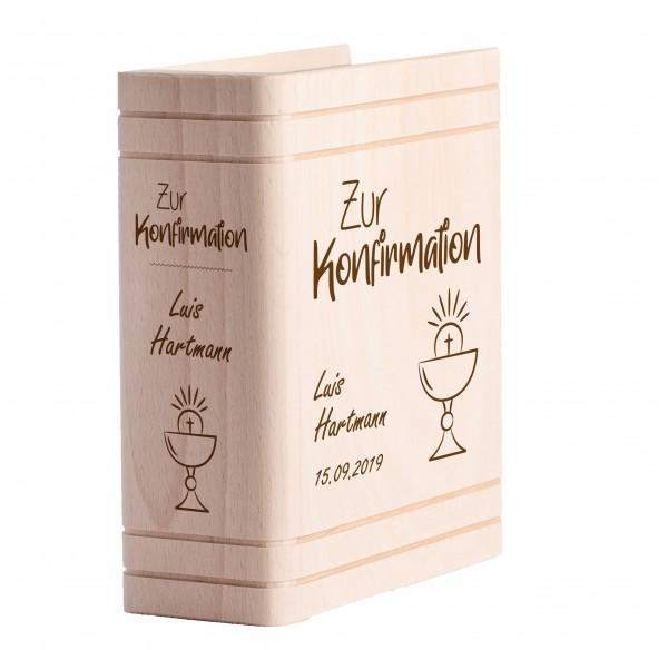 Personalisiertes Sparbuch mit Gravur zur Konfirmation - Kelch