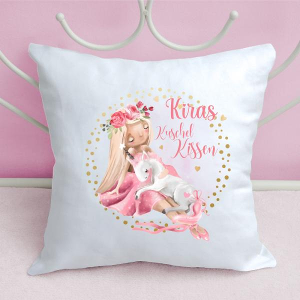 Kissen für Mädchen Prinzessin mit Einhorn