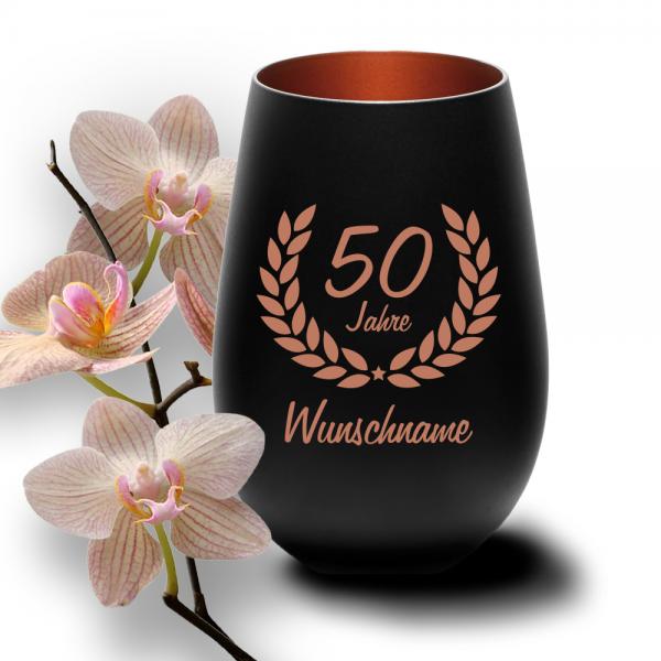 Windlicht zum 50. Geburtstag mit Deinem Wunschnamen schwarz-bronze