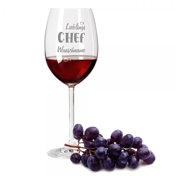 Rotweinglas Lieblings-Chef mit Deinem Wunschnamen