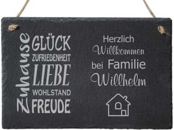 Türschild Schiefer Zuhause mit Deiner Namensgravur