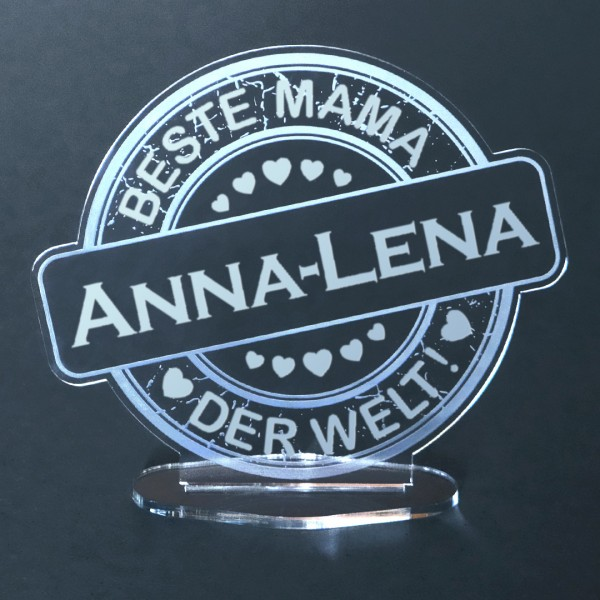 "Acryl-Button mit Namensgravur ""Beste Mama"""