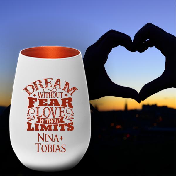 Windlicht zum Valentinstag - Dream without fear love without limits - und Deinen Wunschnamen