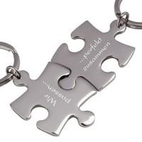 Trendgravur Partner-Schlüsselanhänger mit Gravur Puzzle silber