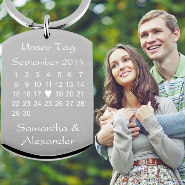 Schlüsselanhänger mit Gravur Kalender - Dein Tag