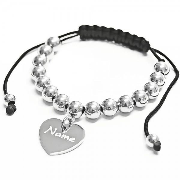 Trendgravur Shamballa-Armband mit Gravur Edelstahlperlen