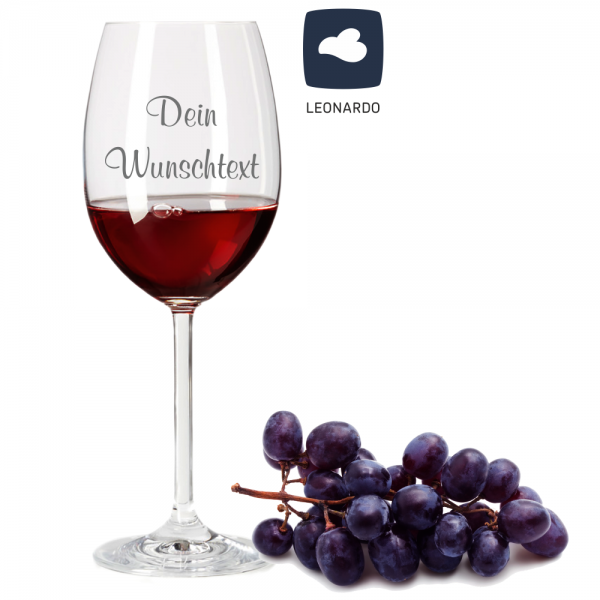 Rotweinglas von Leonardo mit Wunschtext