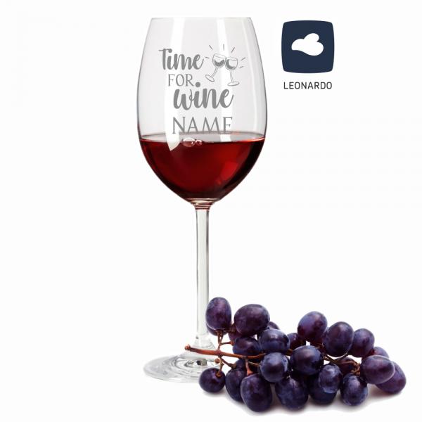 Rotweinglas Leonardo mit Deinem Wunschnamen - Time for wine