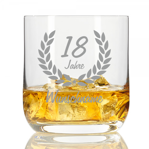Whisky-Glas mit Namensgravur zum 18. Geburtstag