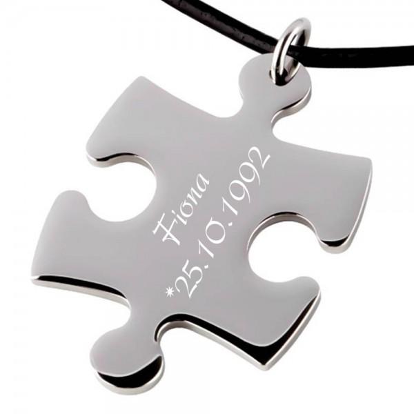 Trendgravur Partner-Anhänger Puzzle groß