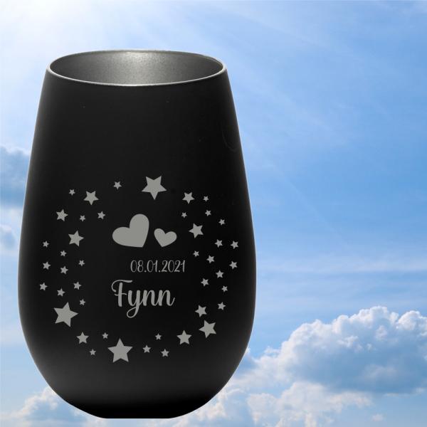 personalisiertes Windlicht Erinnerungslicht  - Sterne & Herzen in schwarz-silber