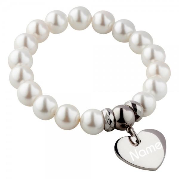 Perlen-Armband mit Gravur creme-weiß