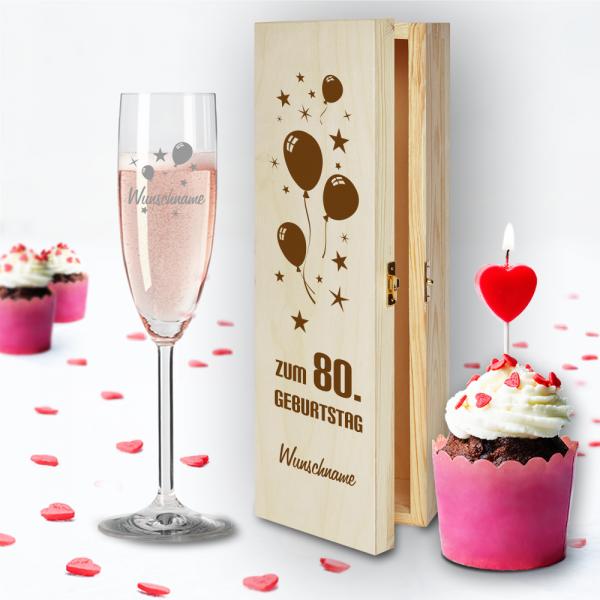 Geschenkbox und Sektglas von Leonardo Luftballons zum 80.Geburtstag