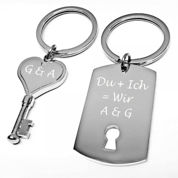 Trendgravur Schlüsselanhänger Schlüssel & Schloss