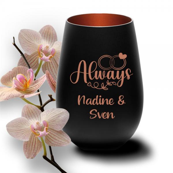 schwarzes Windlicht mit Deinen Wunschnamen zur Hochzeit -Always