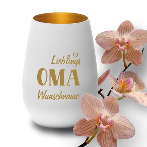 """Deko-Windlicht """"Lieblings-Oma"""" mit Wunschnamen in weiss-gold"""