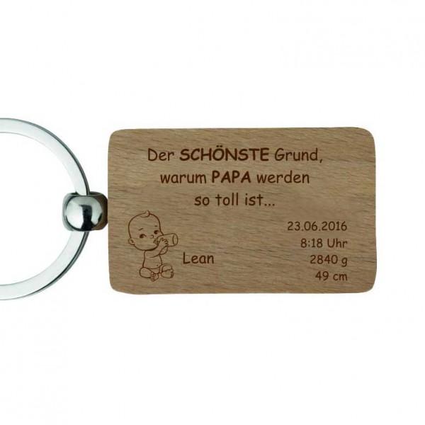 Holz-Schlüsselanhänger mit Gravur -Zur Geburt für Papa