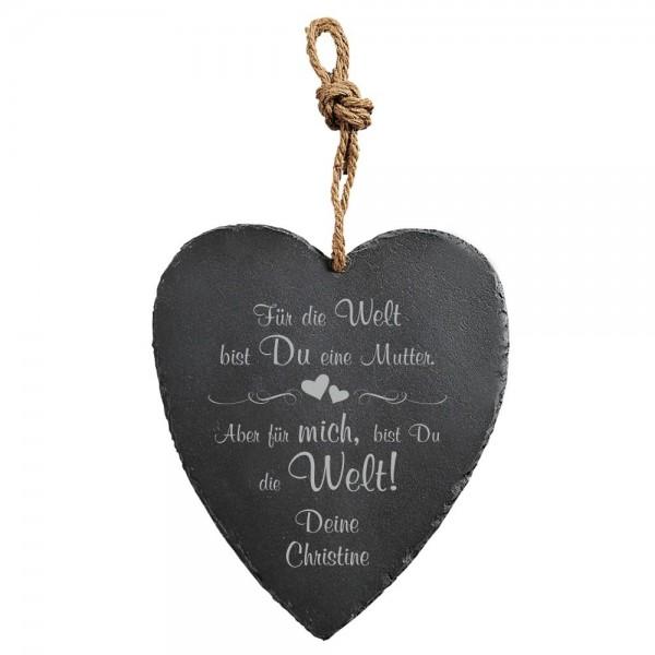 Herz-Schiefertafel mit Gravur für die liebe Mama