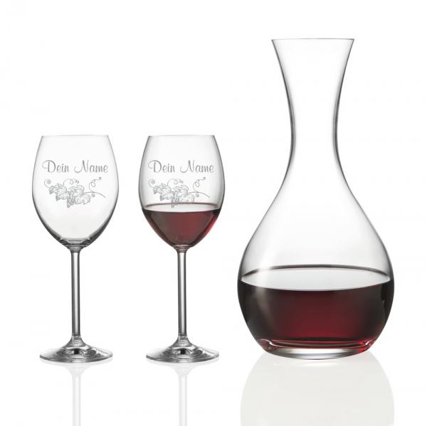 Personalisiertes Geschenk-Set Rotwein mit Dekanter - Weinrebe