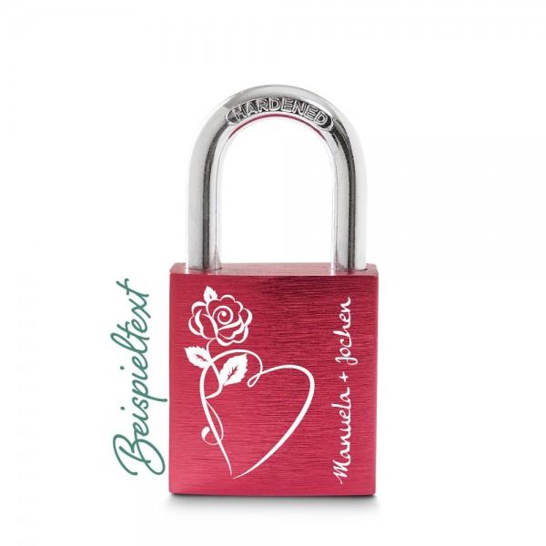Liebesschloss rot Herz-Rose mit deinen Wunschnamen
