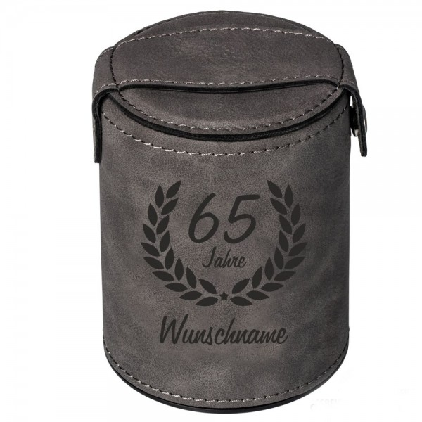 Würfelbecher zum 65. Geburtstag -Wunschname