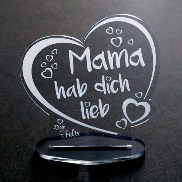 Acryl-Herz ♥ Mama hab dich lieb ♥